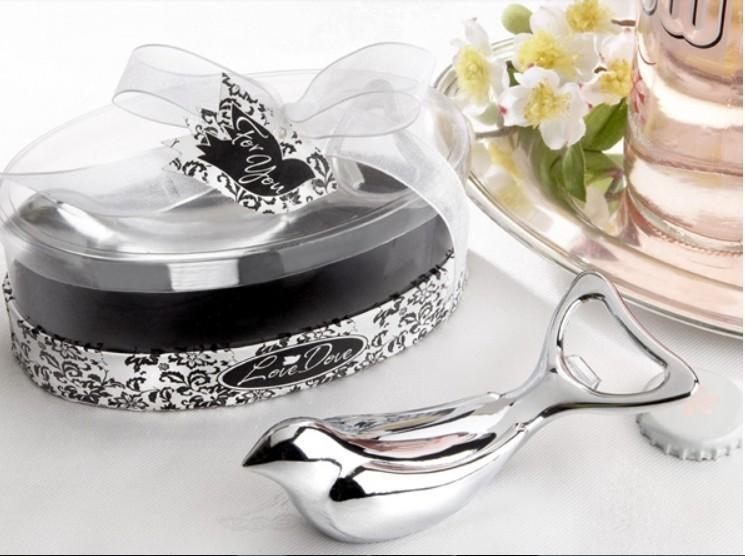 """""""Love Dove"""" Apribottiglie cromate argento in elegante confezione regalo ovale da 50 pezzi / lotto spedizione gratuita"""