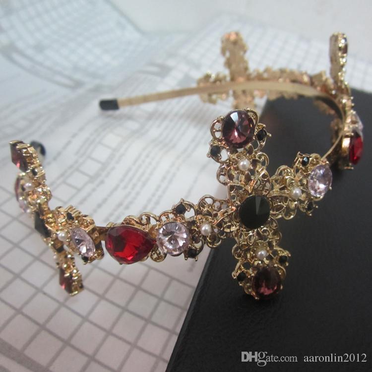 Fashion colorful crystal cross hairbands for women head jewelry 2017 gold headband crowns bridal tiara wedding hair accessories Bijoux