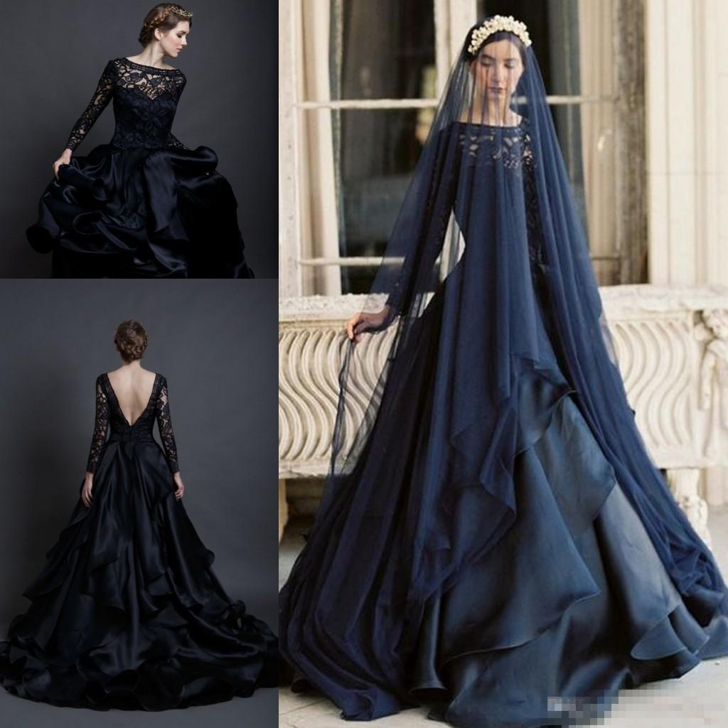 Discount Modest Pnina Tornai 2017 Black Lace Long Sleeve Gothic Wedding  Dresses Plus Size Vintage Gothic Ruffles Tiered Skirt Country Bridal Gowns  ...