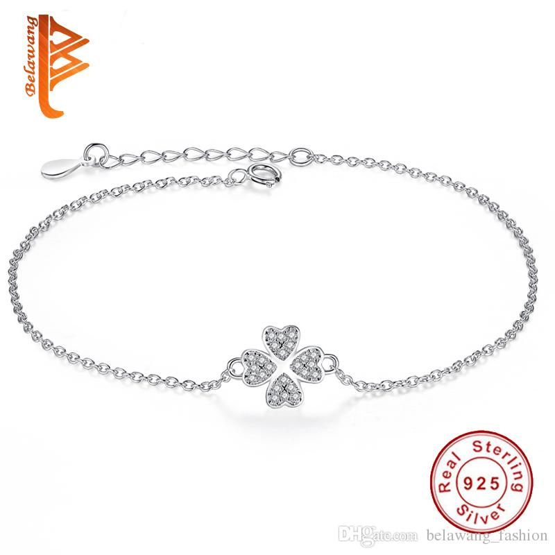 BELAWANG Fashion 925 Sterling Silver Sliver&Rose Gold Jewelry Crystal Four Leaf Clover Heart Charm Bracelet Adjustable Link For Women Gift