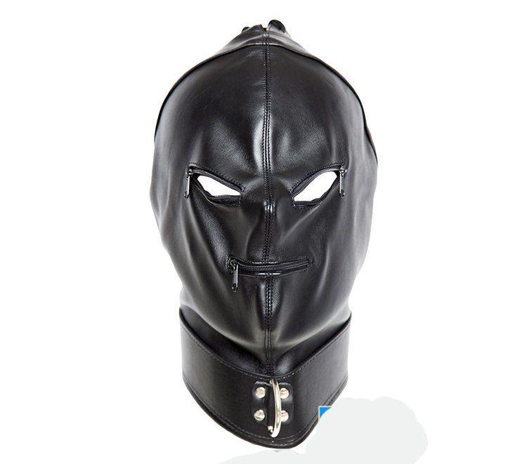 Setzen Sie Maske Mundhauben Erwachsene Eye Fetisch BDSM Maske, Schwarz Sklave Sexspielzeug Kopfhaube Sex Produktspiele Kapuze Bondage Juiiv