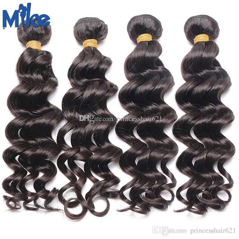 MIKEHAIR Natürliche menschliche Haare webt billige brasilianische haare natürliche welle 4 bündel 100g / stücke peruanische indische malaysische wellenförmige haarverlängerungen
