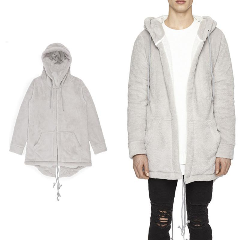 Wholesale-Mens streetwear Autumn Hooded Coat Middle Long Casual Cardigan Sweatshirt Flannel Comfortabl With Zipper Sleeves Bottom Curved