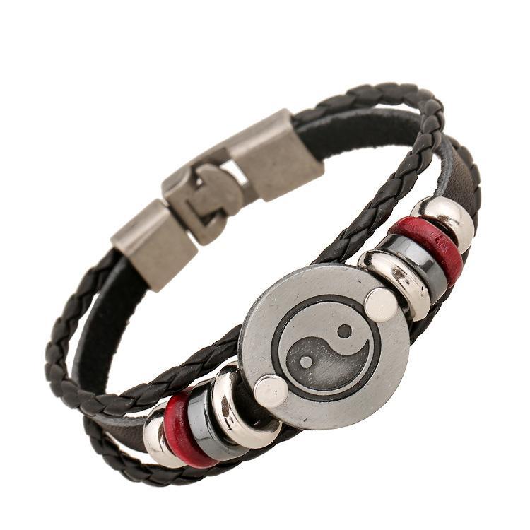 Bracelets Fashion Jewelry Anchor Alloy Bracelets Men's Leather Casual Personality PU Woven Beaded Bracelet Vintage Punk Bracelet BH002