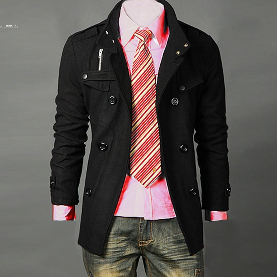 Wholesale- 2017 Cheap Double Breasted Trench Coat Wool Turn-down Collar Casual Long Slim Men Outerwear Jacket Hot Stylish Woolen Top jacket