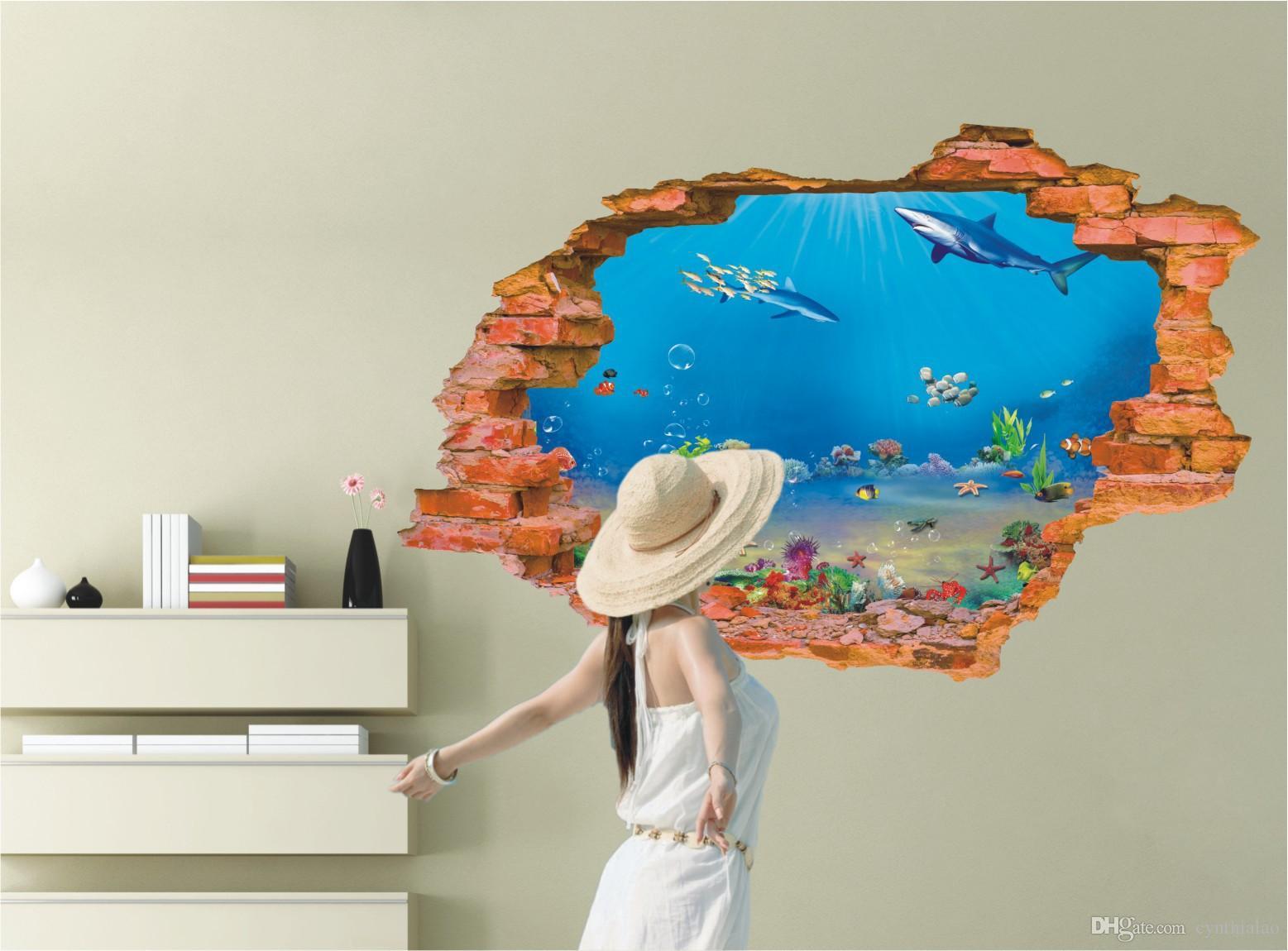 D Broken Wall Sea World Scenery Wall Sticker PVC Household - Underwater wall decals