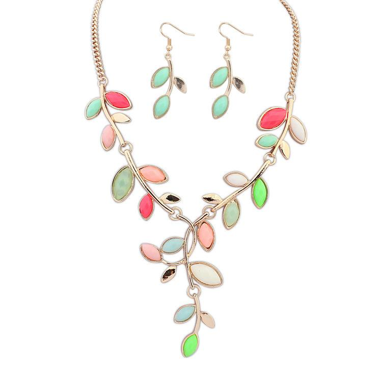 Fine pendant Necklace earring Jewelry Set Ruili fashion trend all-match new Bohemia hot fashion jewelry wholesale package leaves