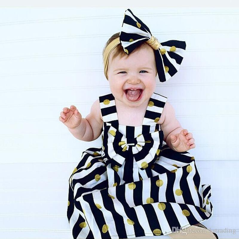 Meninas listrado pontos cintas vestido 2 pc definir grande arco headband + ouro metálico dots print dress roupas de verão do bebê roupas bonitos para 1-2T