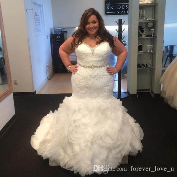 Plus Size Mermaid Wedding Dresses Fit And Flare Trumpet Lace Appliques  Beaded Crystals Belt Ruffles Skirt Lace Up Back Bridal Gowns Western  Wedding ...