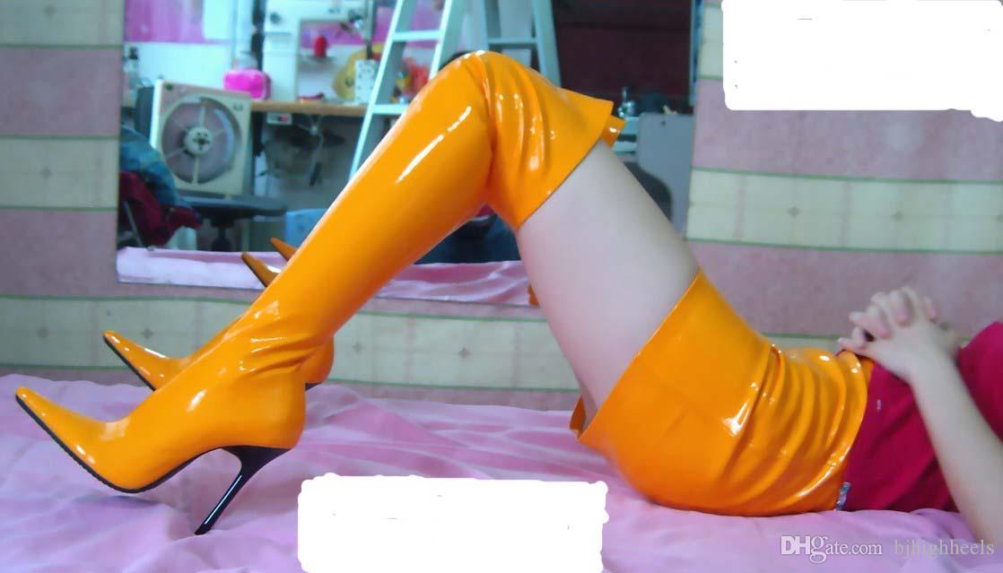 12 CM Hohe Höhe Sex stiefel frauen Stiefel Spitz Tops Pfennigabsatz OVER-THE-KNEE Stiefel No. 1250R