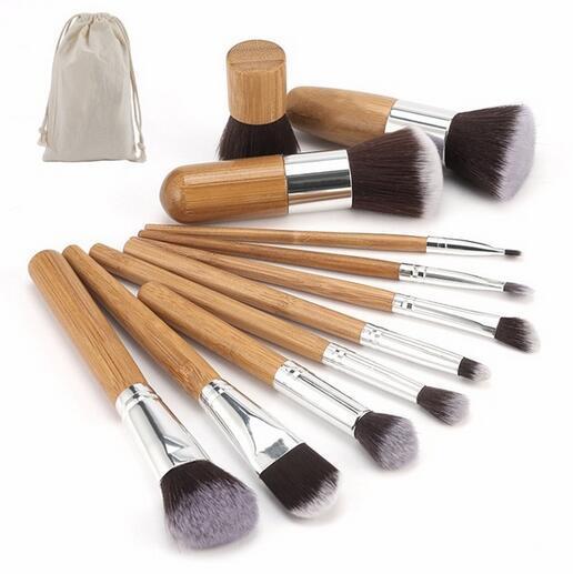 11pcs professionnel pinceaux de maquillage en bambou ensemble ombre à paupières pinceaux maquillage fondation blush fictif kabuki doux brochas
