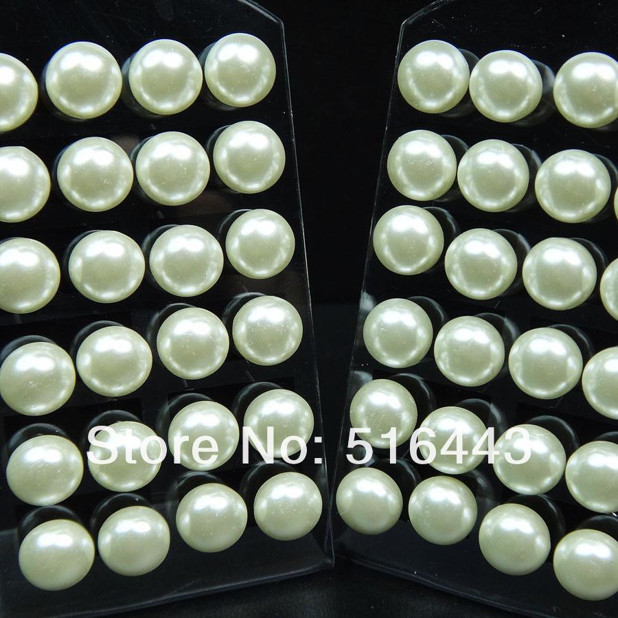 A-548 96 pcs Rodada de Prata Branco De Vidro Pérola de Aço Inoxidável Mulheres Brincos Por Atacado de Moda Jóias Lotes incluem a almofada