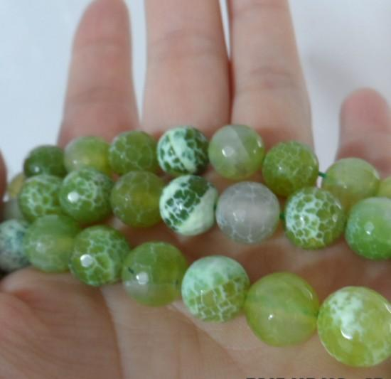 10mm Natural gem Stone Green Facet Agate Ball Loose Beads diy Fashion Beaded Jewellery Accessories Jewelry Making 111pcs/lot