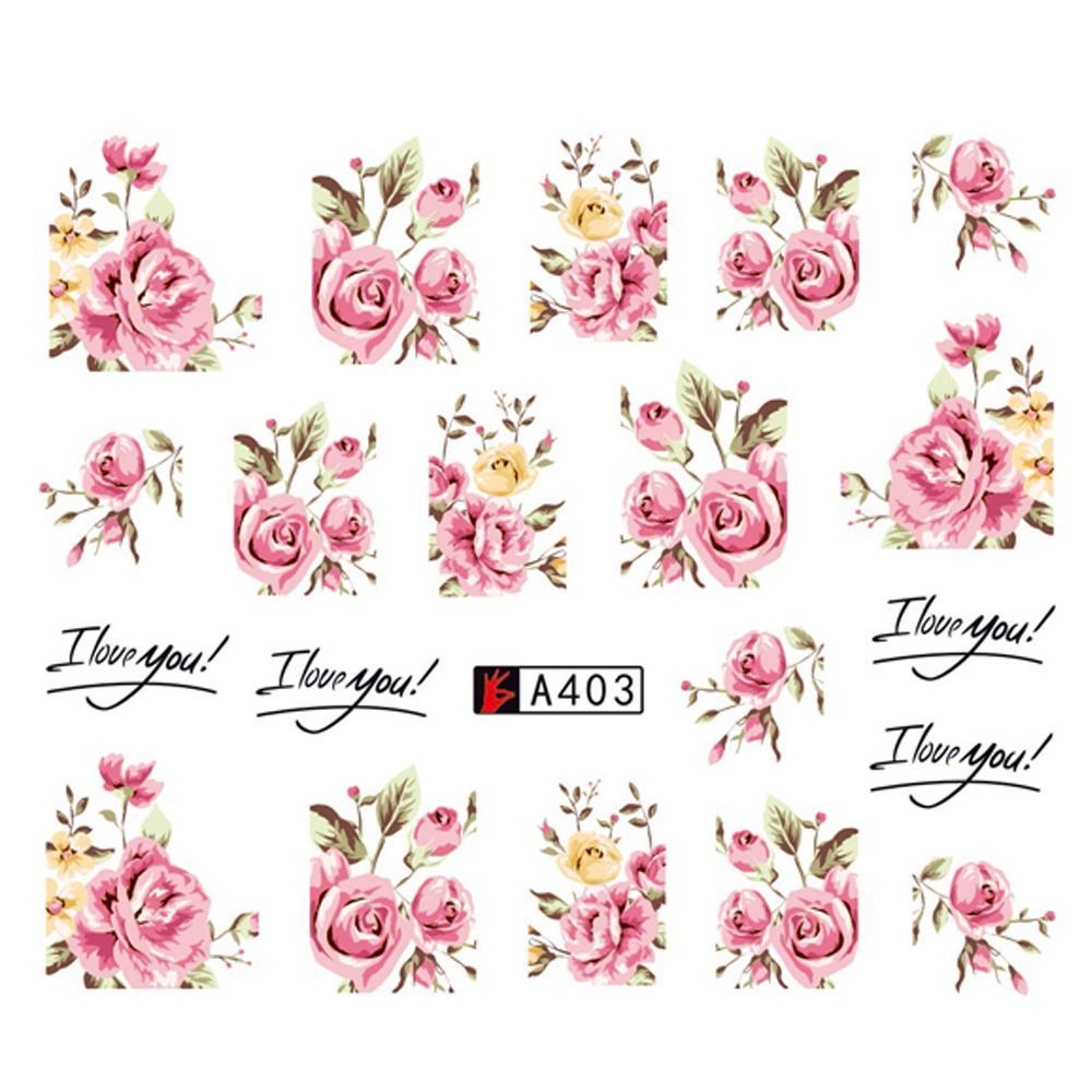 Toptan DIY Tasarımcı Su Transferi İpuçları Nail Art Pembe Gül Çiçek Sticker Çıkartmaları Kadın Güzellik Düğün