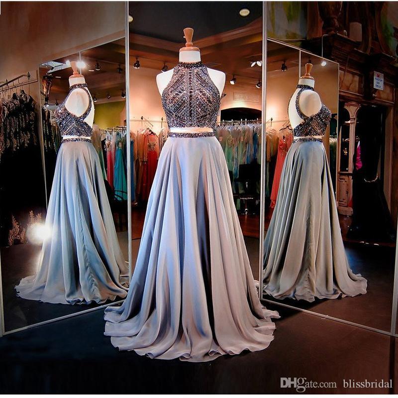 Cristal magnifique haut robes de soirée de cou perler une ligne deux pièces robes de bal robe formelle dos nu à lacets