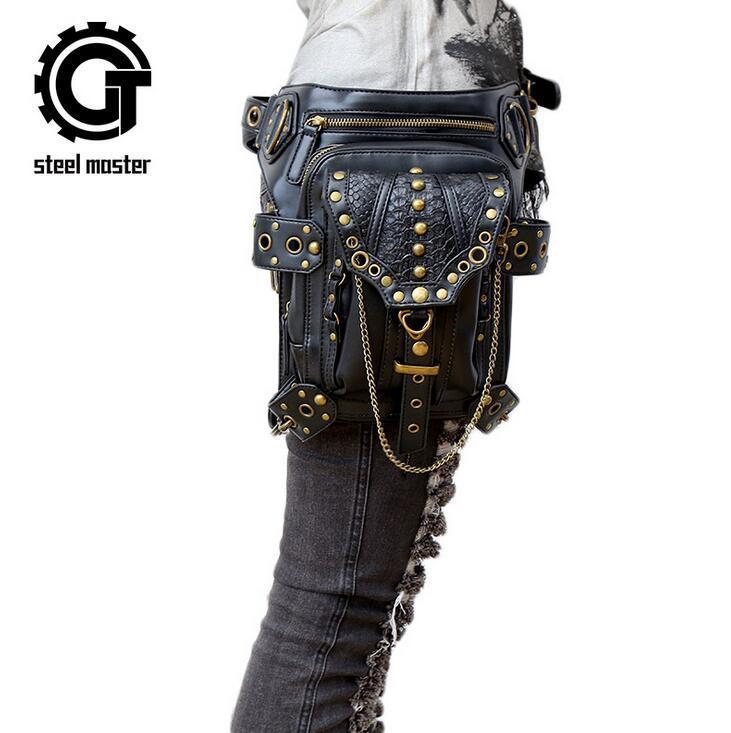 Atacado marca de moda saco de couro de crocodilo multifuncional saco de couro de Rua Steampunk bolso retro ao ar livre do punk bolsa de ombro único