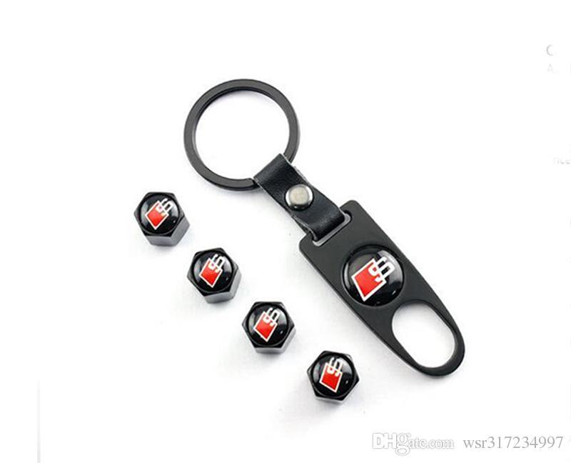 Car accessories Car Wheel Tire Valve Caps & Logo Keychain Dust Stems Air Caps Cover S for A1 A3 A4 A6 A8 A7 TT Q3 Q5 Q7 RS3 RS5 RS7