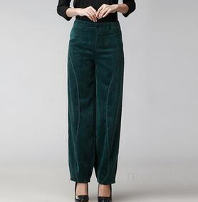 Pantaloni Bloomers per le donne più taglia alta vita pantaloni di velluto a coste di velluto casual nero verde rosso primavera autunno misto cotone pantaloni seb0704 femminile