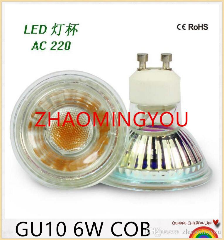10PCS NEW 6W 220V 110V GU10 COB MR16 GU5.3 LED lamp Heat Resistant Glass Body LED Spotlight Bulb light