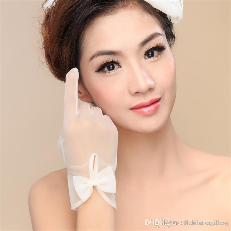 Gants de mariage simples de mariage avec noeud blanc ivoire pas cher de haute qualité longueur de poignet tulle illusion ont doigt nouveau style