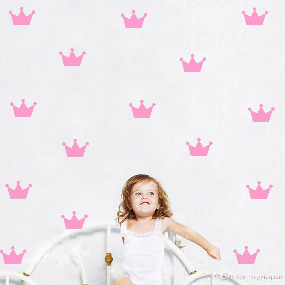 Ins Baby 60 piece/lot Crown Wall Stickers Removable Black and White Wall Decal DIY Nursery Home Decor for Child Girls Wall Art PVC Sticker