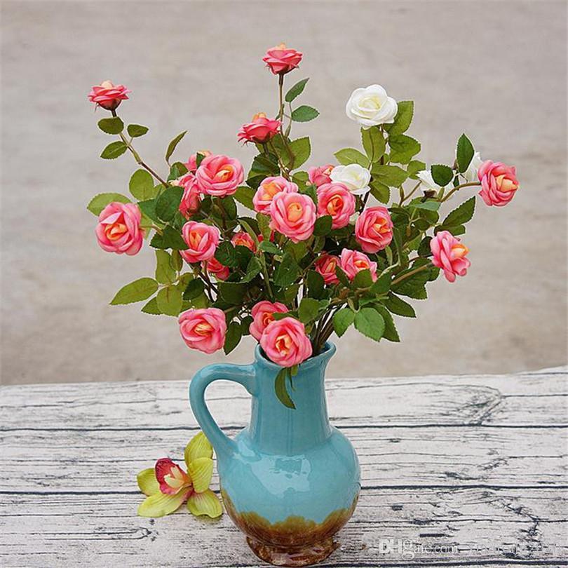"""Faux Européen Simple Tige Mini Rose 55cm / 21.65 """"Longueur Fleurs Artificielles Icelandic Petit Camélia"""