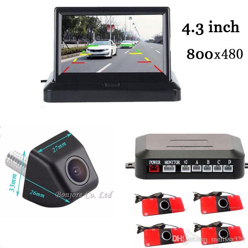 3in1 4.3 سيارة مرآة الرؤية الخلفية مراقب + كاميرا الرؤية الخلفية مع وقوف السيارات الرادار الاستشعار وقوف السيارات المساعدة parktronic نظام الجرس
