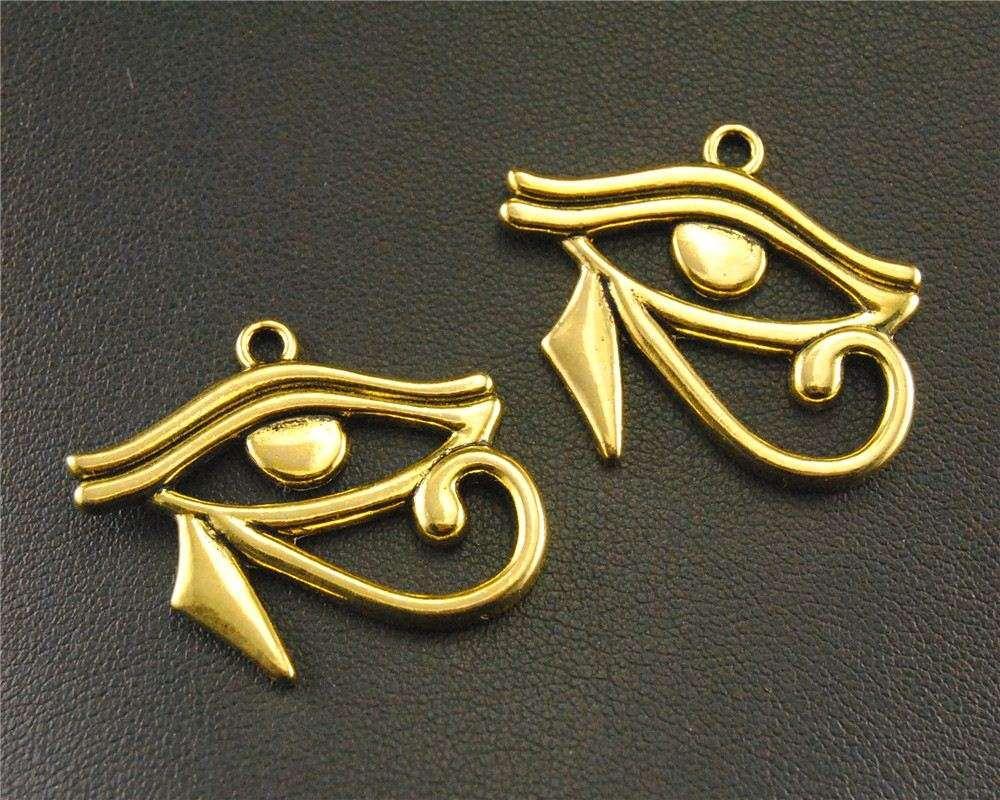20 pcs vintage 3 mistura cores olho de horus charme pingente diy jóias fazendo 26x31mm a604 / 605/1401