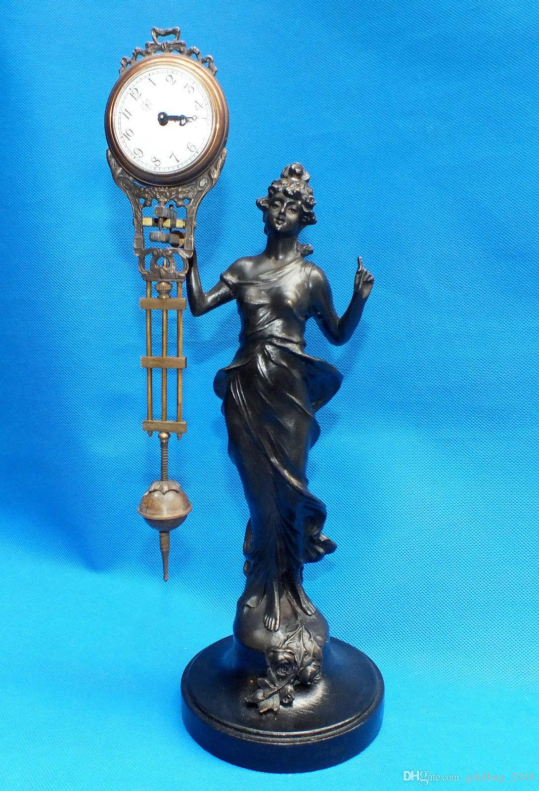 Schöne Pendeluhr Bronze Angel Goddess Statue
