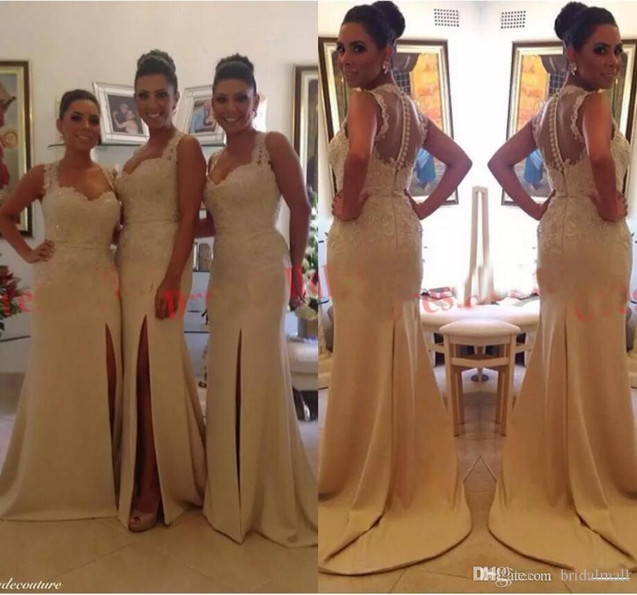 2019 botón de correas espaguetis largos vestidos de dama cubierto alto hendidura lateral de encaje con cuentas vestido de dama de honor más el tamaño de vestido formal del partido