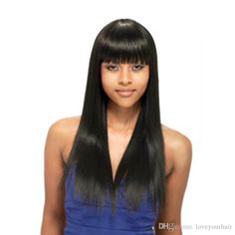 High Quality Medium length Straight Wigs Simulation Human Hair Long Silky Straight Wig With Bang For Women in stock