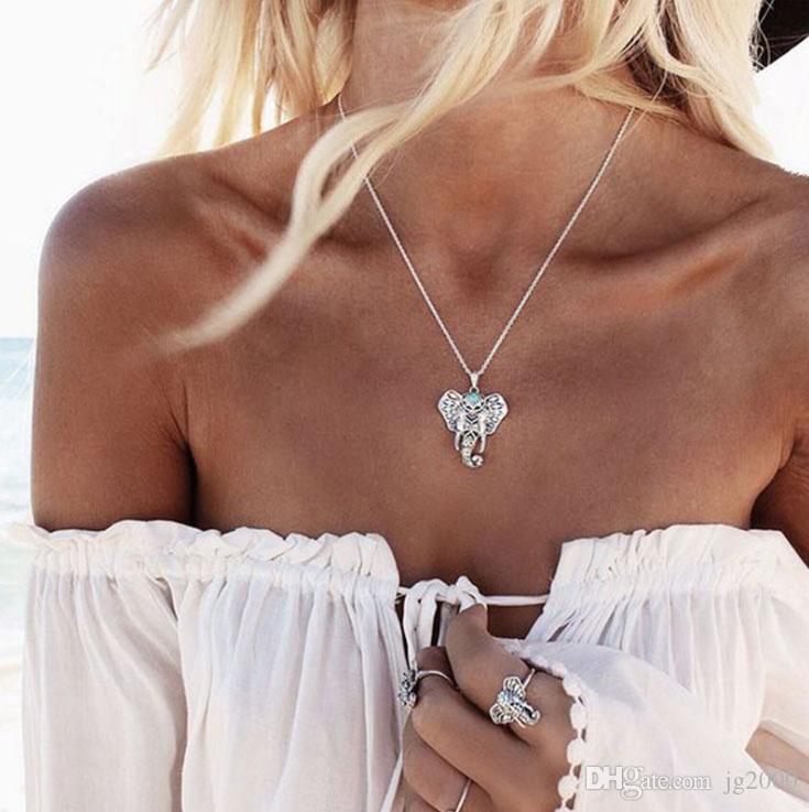 Бирюзовый слон ожерелье одежда аксессуары искусственные ювелирные изделия длинная цепь ожерелье мода висит цепь