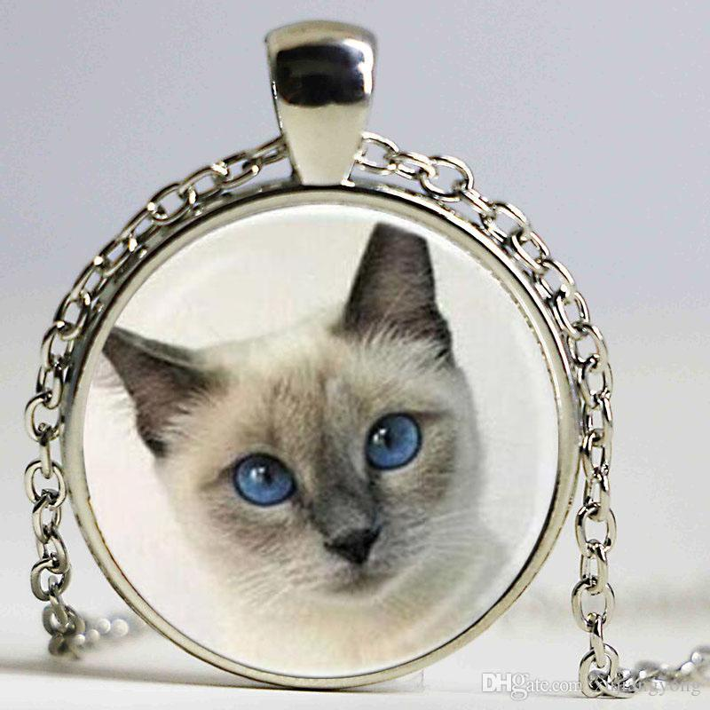 Round Cat Pendant Eye Cat Necklace Animal Gift Vintage Necklaces Necklaces 2015 Glass Jewelry Charms Girl Choker Kphij