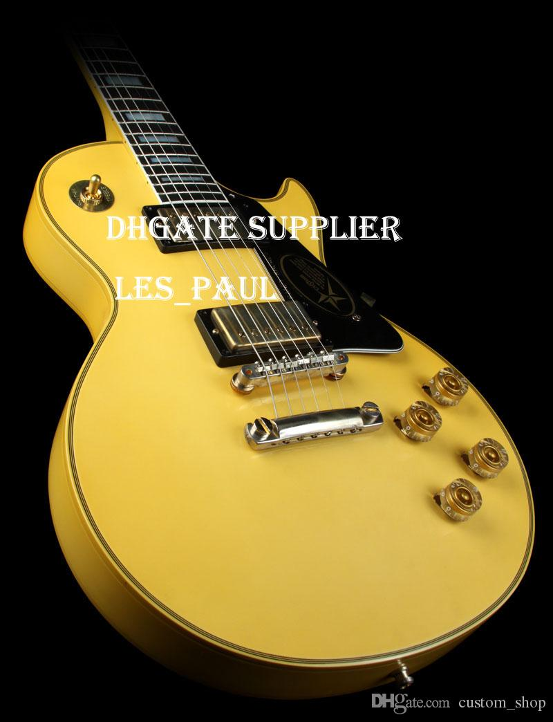 Legendary Ax! Sur mesure Randy Rhoads Signature Vieilli Légende Métal Blanc Jaune Guitare électrique Ebène, Gravé Sign On le pickguard