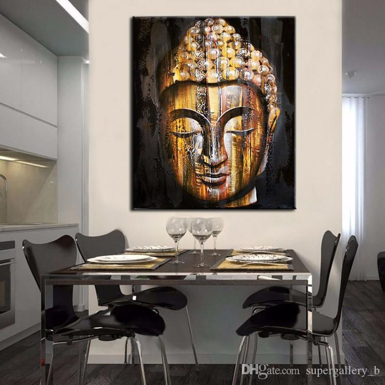 Framed Pure Hand Painted Modern Buddhist Art Oil Painting Golden Buddha Face,Home Wall Decor On High Quality Canvas size can be customized