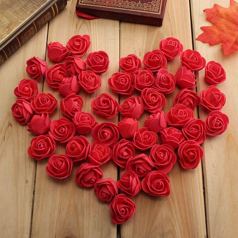 Wholesale- 100PCS Mini PE Foam Rose Artificial Flowers For Wedding Car Decoration DIY Pompom Wreath Decorative Valentine's day Fake Flowers