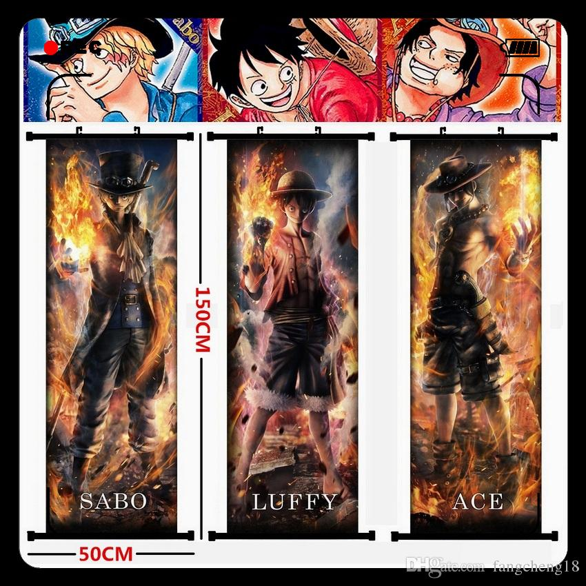 2019 Anime One Piece Monkey D Luffy Portgas D Ace Sabo Combustion Edition Beautiful Hanging Picture Poster Fabric Painting Mural From Fangcheng18