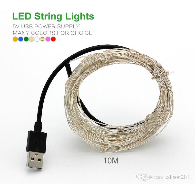 Edison2011 5V USB 운영 LED 문자열 빛 10m 100LED 실버 와이어 야외 크리스마스 요정 조명 LED 별이 빛나는 가벼운 파티 결혼식 장식