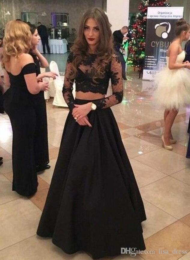 Sexy Black Two Pieces Prom Dress with Long Sleeves See Through Party Gowns Beautiful A Line Formal Pageant Evening Dresses