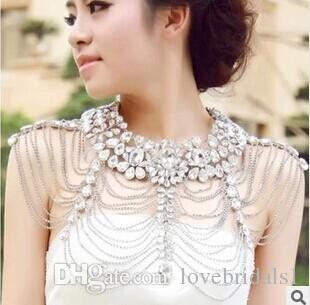 2017 elegant bride wedding wedding accessories chain necklace shoulder epaulets jewelry wholesale high-grade crystal shoulder chain