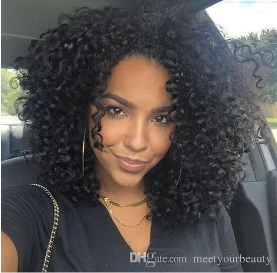 Hot selling kinky curly full simulation human hair wig afro curly Full Wigs In Stock free shipping