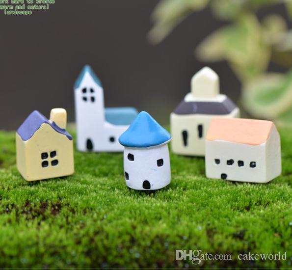 5 pz beach house villa gnomes fairy garden jardin fate in miniatura bonsai terrario castello decorativo resina artigianato ornamenti