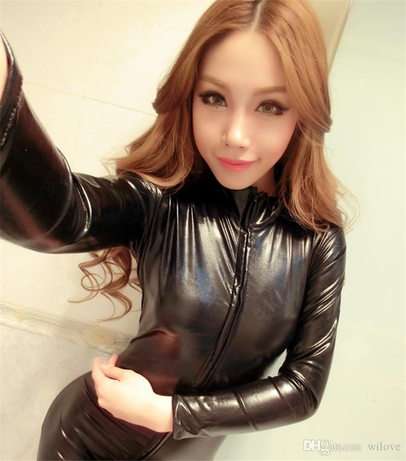 Woman Black Bodysuit Sexy Bodysuit Costume Fantasias Sexy Latex Catsuit With Zipper To Crotch Long Sleeve PVC Leather Erotic Lingerie