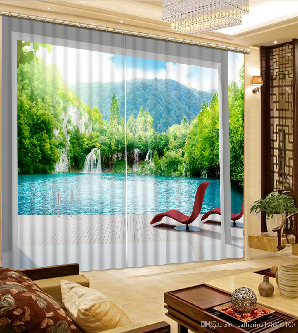 ... Top Classic 3D European Style balcony nature scenery curtains for  living room ...