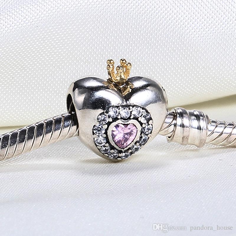 حقيقي 925 فضة غير مطلي الأميرة القلب مكعب زرسكونيا الأوروبية سحر الخرزة صالح باندورا الأفعى سلسلة سوار diy الأزياء والمجوهرات