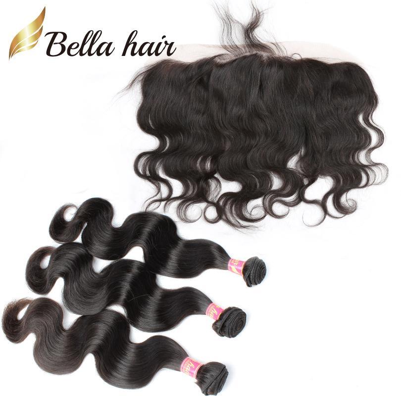 Brasilianska mänskliga hår väv med spets frontal stängning kroppsvåg öra till örat vävverk Virgin hår buntar förlängning 4st / lot bella hår