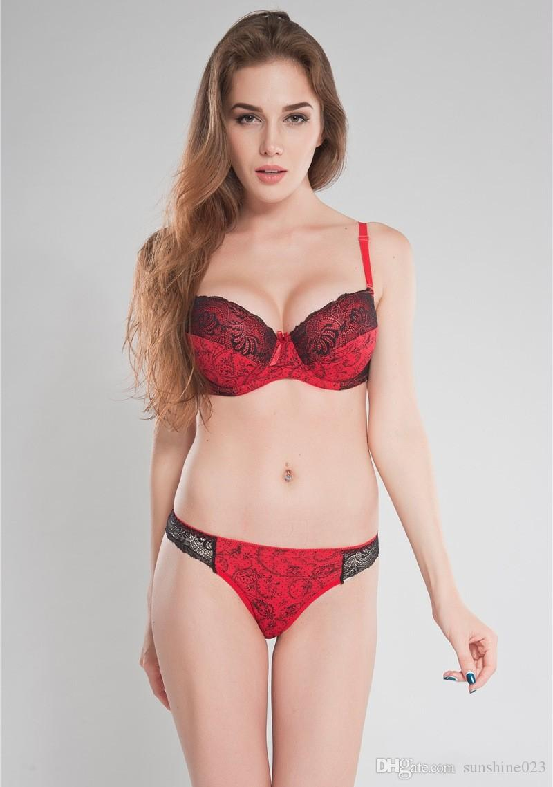 Plus Size Cup DD E Red or Blue Ladies Bra And Thong Set Larger Cup