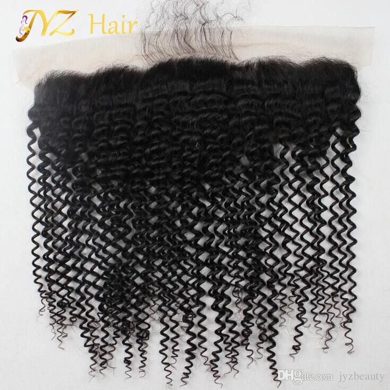 JYZ Peruanische Spitze Frontal Kinky Curly Lace Closure Medium Braun Frontal Curly Unverarbeitete Reine Haarspitze Fronten