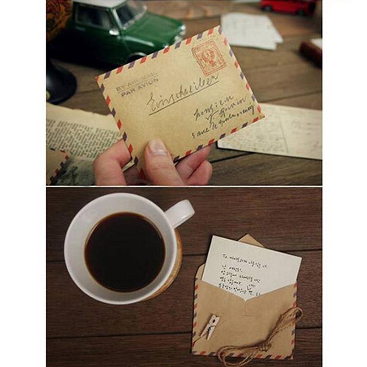 Atacado-10 pçs / lote (um saco) Mini Retro Vintage Postal Torre Eiffel Kraft Paper Envelope para o Casamento Papelaria Coreano Frete grátis
