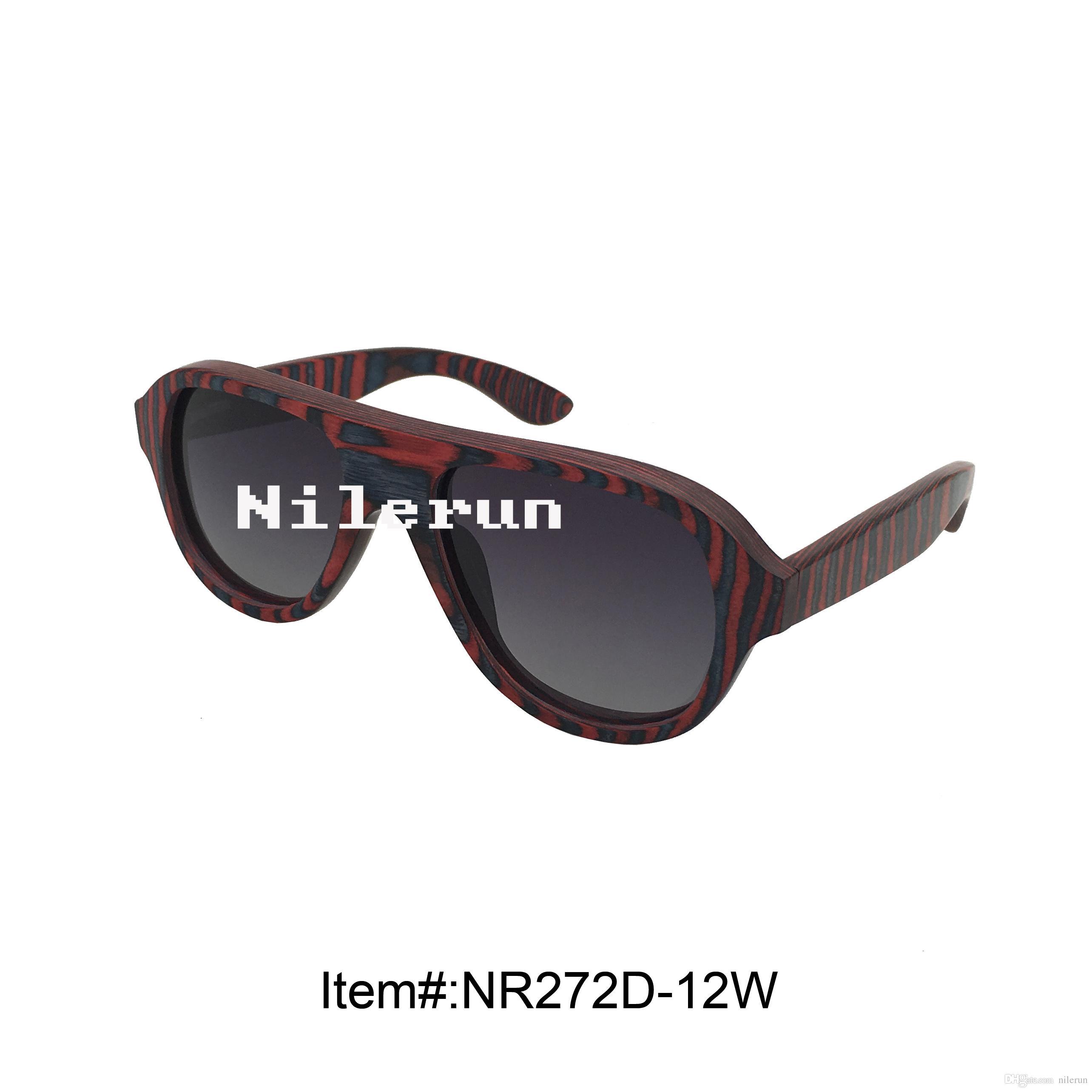 occhiali da sole con montatura in legno color caramello multicolore